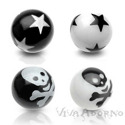1,6mm Piercing Screw-ball Star Skull Spare Clasp Ball Skull Z340