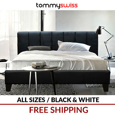 TOMMY SWISS: PREMIUM King Queen & Double PU Leather Bed Frame in Black White