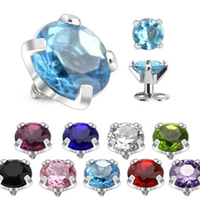 Dermal Anchor Top-part round Zirconia 9 Colours 3 Sizes -PIERCINGS by ALLFORYOU