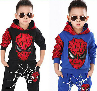 Baby Boys Long Sleeve Spiderman Hoodies Top + Pants Set Kids dress Outfits Hot