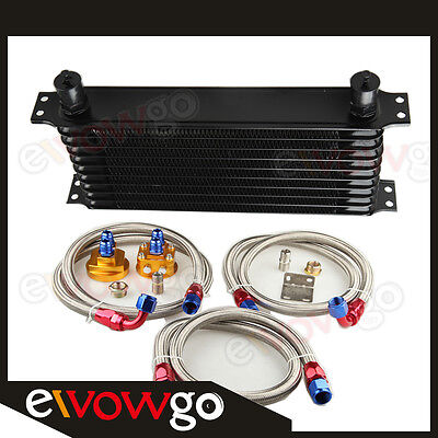 10-Row Engine Oil Cooler Aluminum An10 +Relocation Kit+Ss Double Braided Lines