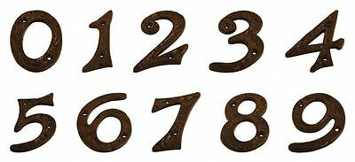 """4""""/100mm LARGE HEAVY BLACK ANTIQUE CAST IRON HOUSE DOOR NUMBERS NUMERALS"""