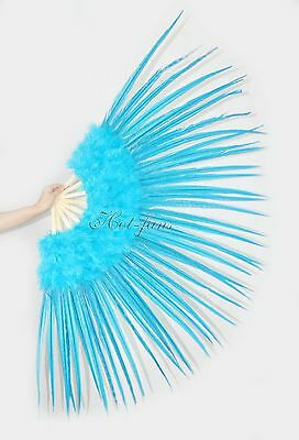 "Turquoise Marabou and Pheasant Feather Fan Burlesque Dance 29""x 53"" Gift Box"