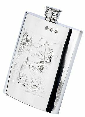 Pewterware fly fishing scene catching a salmon - 6oz oblong hip flask & funnel