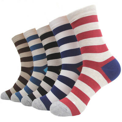 NEW 5 Pairs Mens Socks Lot Cotton Knit Warm Classic Striped Business Casual Sock