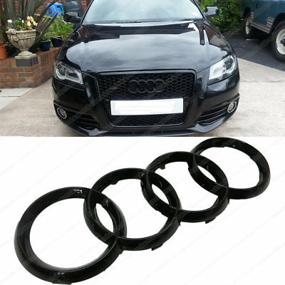 NEW Aftermarket Black Glossy Front Grille Badge Rings Logo for Audi 272x95