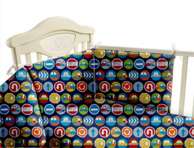Childrens Nursery Bedding Set - 3pc Cot Bumper Baby Duvet Quilt Bed Cover