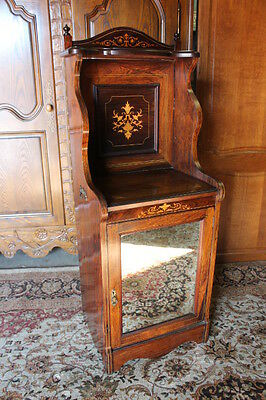 Elegant Victorian Rosewood Stand With Extensive Inlay & Mirrored Door c. 1890