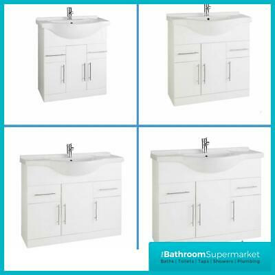 Bathroom Vanity White Gloss Unit Basin Sink Cabinet Storage Modern Cloakroom