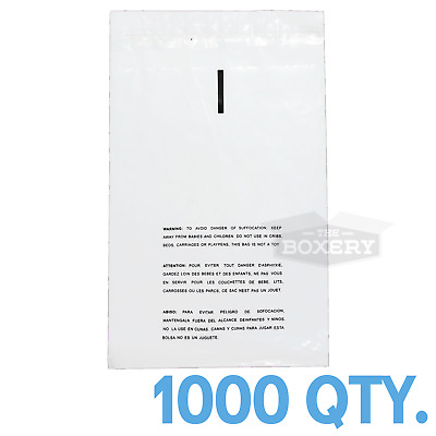 1000 14x20 Self Seal Suffocation Warning Clear Poly Bags 1.5 mil Free Shipping