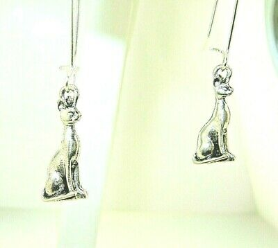 "New 3-D  Egyptian  CAT  goddess Bastet  Silver-tone Dangle Earrings 1-9/16"" long"