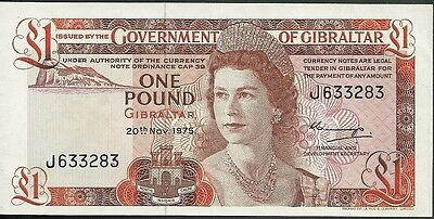 1975 Government of gibraltar one pound currency note paper money 1 pound