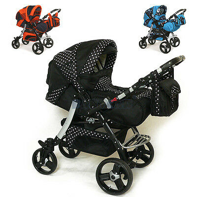 Baby Pram Stroller Car seat Pushchair Buggy Carrycot Poussette swivel wheels