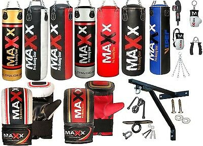 Maxx 3ft 4ft 5ft 15 Piece Boxing Set Filled Heavy Punch Bag Bracket FREE CHAIN