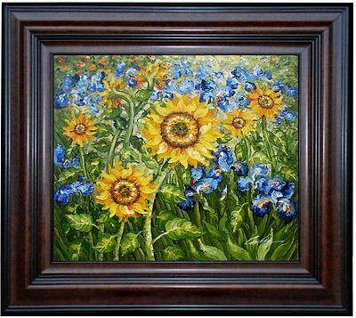 Framed Van Gogh Sunflowers and Irises Repro 2, Hand Painted Oil Painting 20x24in