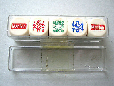 PLAYING CARDS VINTAGE POKER DICE MANAKIN CIGARS SET OF 5 WITH BOX 1970s