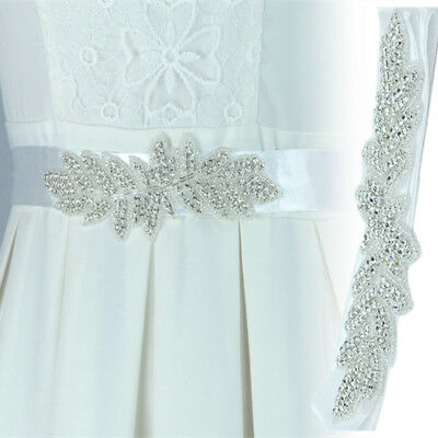 Elegant Beads Rhinestone Wedding Bridal Dress Ribbon Belt Sash Waistband Trim