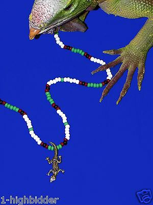 "21"" Jim Morrison Lizard King Pendant Bead Necklace Orig Green White The Doors"
