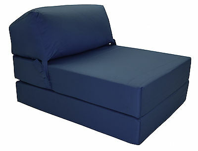 NAVY BLUE Deluxe Jazz Single Chair Bed Z Guest Fold Out Futon Chairbed Matress