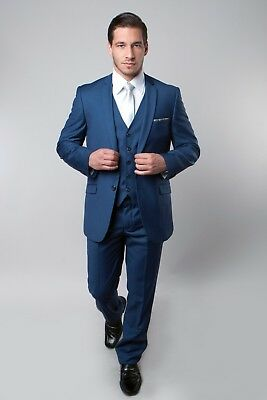 Men's Business Church 3 Piece Vest Notch Lapel Solid Modern Classic Fit Suit
