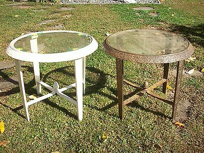 Antique Art Deco Cast Iron Tables Pair Patio, Garden, Indoors