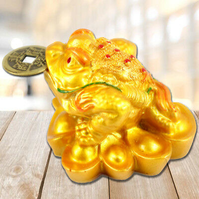Feng Shui Money LUCKY Fortune Oriental Chinese Ching Frog Toad Coin Home Decor