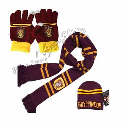 3pcs Harry Potter Gryffindor House Scarf+Cap/Hat + Gloves Warm Costume Xmas Gift