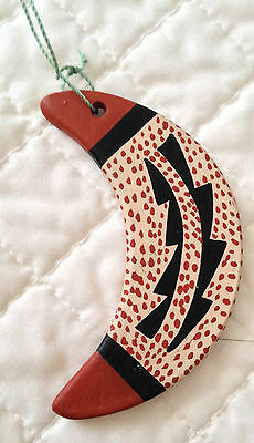 Vintage Southwestern Handcrafted Painted Clay Moon Ornament