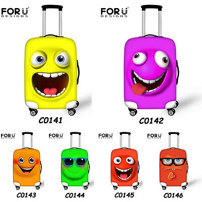 Cute Emoji Women Clear Elastic Travel Luggage Cover Suitcase Protector Covers