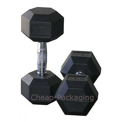 Hex Dumbbell Rubber Encased Weights Gym Training Fitness