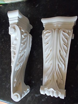Ornate Long Corbels Diy Furniture Fire Place White Resin