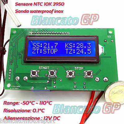 TERMOSTATO DIGITALE ELETTRONICO LCD 1602 16x2 LED BLU 12V NTC 10K 3950 -50℃ 110℃