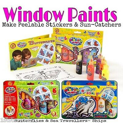 6 x 20ml Peelable Window Paint Stickers Suncatchers Butterflies Ships