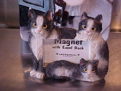 Black & White Cat ~ Magnet Picture Frame With Easel Back ~ #2A