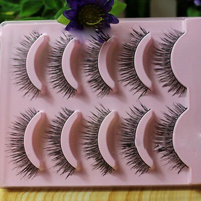Hot 5 Pairs Makeup Handmade Long Thick Cross Beauty False Eyelashes Eye Lashes