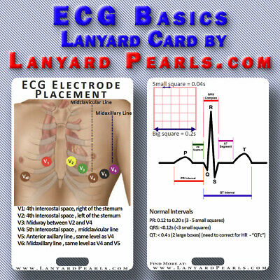 ECG Basics - Normal EKG - PVC Lanyard Badge Card - Nursing Medical