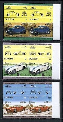 ST. VINCENT 1985 MiNr: 798 - 803 ** PAIRS PAARE IMPERF CARS AUTOS OLDTIMER