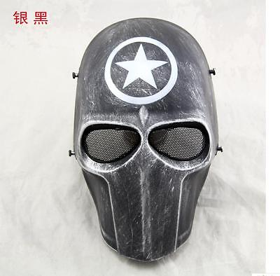 Outdoor Tactical Gear Airsoft Paintball Full Face Protection Cacique Mask sliver