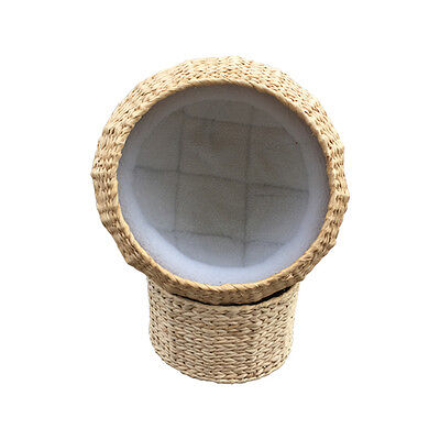 Handmade Round soft wicker woven cat basket with stand to match+cushion, lowest!
