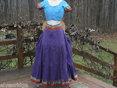 2 Piece Red, Purple and Blue Gopi Skirt Set