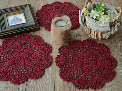 "Set of 3 Burgundy Hand Crochet Doilies Coasters Lot 8"" round"