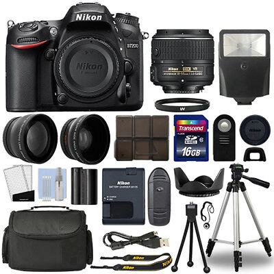 Nikon D7200 Digital SLR Camera + 18-55mm 3 Lens Kit + 16GB Top Value Bundle
