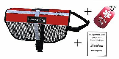 SERVICE DOG VEST-Nylon Top, Mesh w/Reflective Border + Dog Tag + ADA Booklet-Red