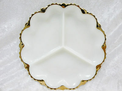 """Anchor Hocking Milk Glass Divided Dish (10"""")  vgc  -  4 dishes available"""