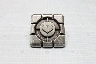 Pewter Cube Lapel Pin, tie pin, inspired by Portal's companion cube