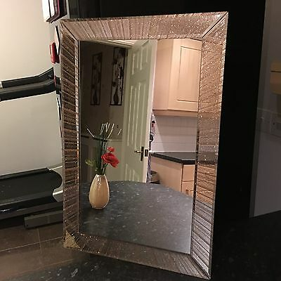Large Golden Glitter Sparkle Wall Mirror Girls Room Bathroom Mantle Wall Mirror