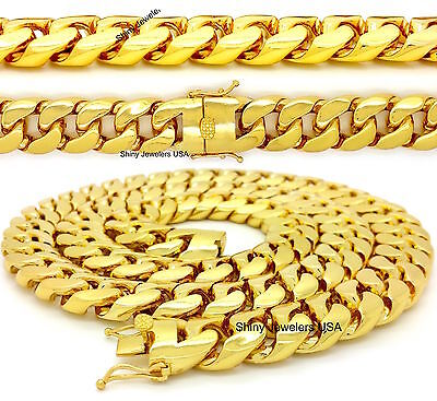 MENS HIP HOP 5 KILO HEAVY 18mm 30'' GOLD FINISH MIAMI CUBAN LINK CHAIN NECKLACE