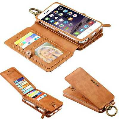 Vintage Wallet Purse Case Leather Flip Pouch Phone Cover for iPhone Samsung LOT