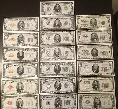 Reproduction Set 1928/1929 United States Currency Historical Educational 19 Diff