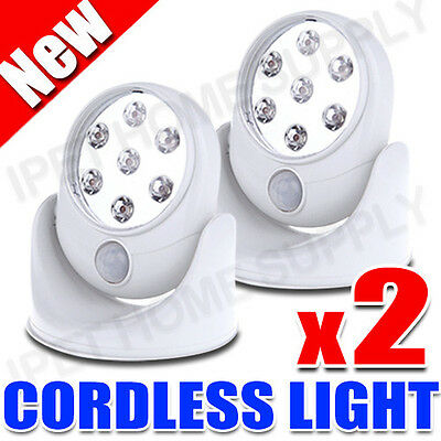 2x Pathway Stair Light Angel PIR Motion Activated Sensor Stick Up 7 LED Cordless
